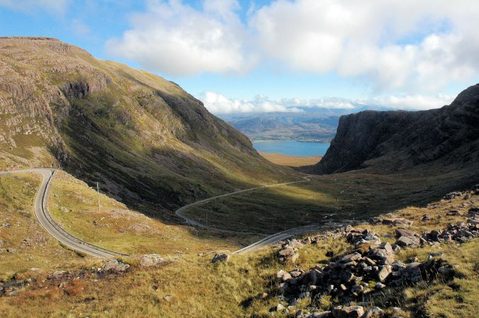 This photo shows the spectacular Bealach na Ba - the Pass of the Cattle. This is reckoned to be the highest road in Britain, climbing from sea level to 2,053 feet at the top.