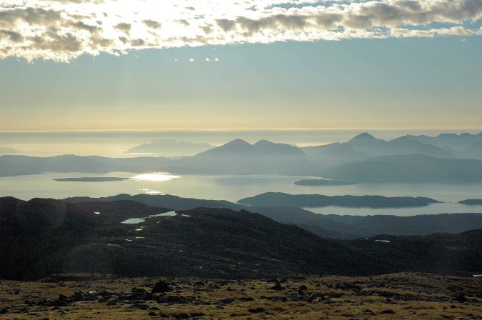 From the car park at the summit there are some spectacular views across to the islands of Raasay and Skye on which the Cuillins dominate the landscape as the photo below shows.