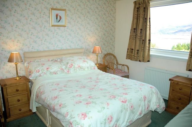 The double bedroom in Strathardle, Croft Road, Lochcarron, Wester Ross.
